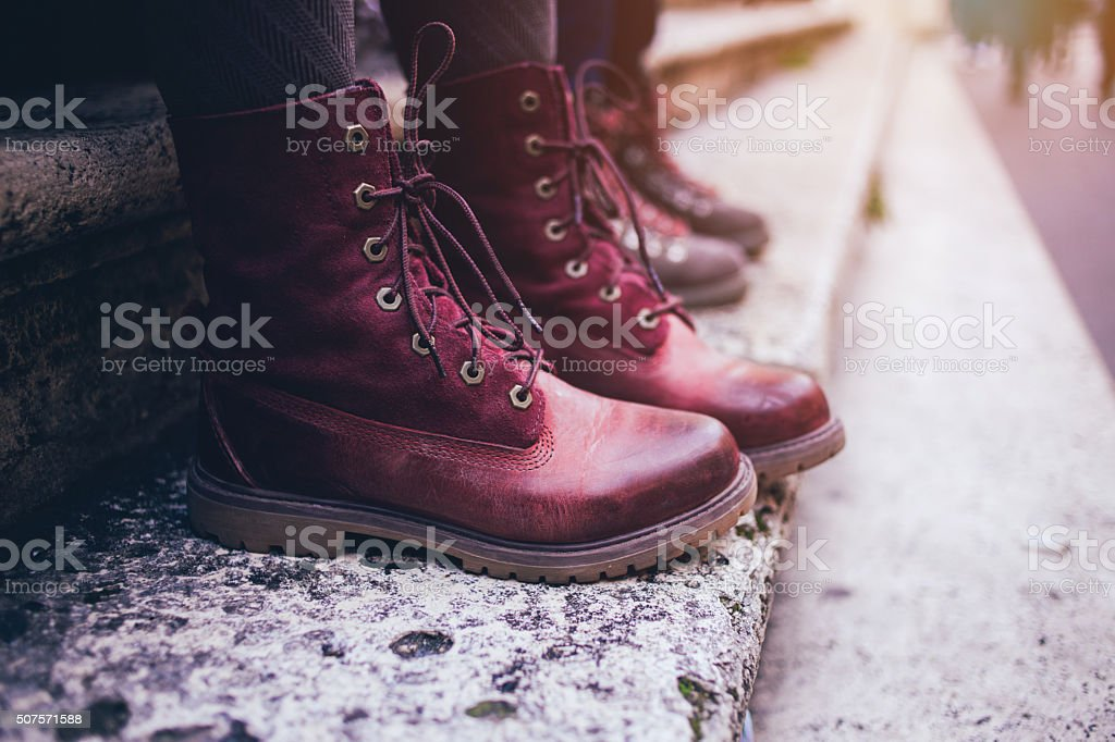 Maroon urban boots stock photo