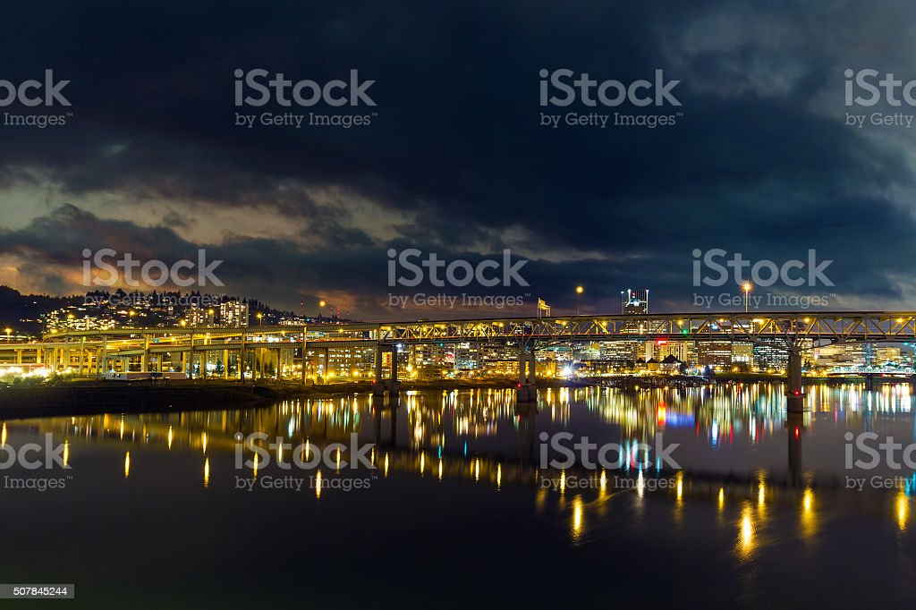 Marquam Bridge over Willamette River at Night stock photo
