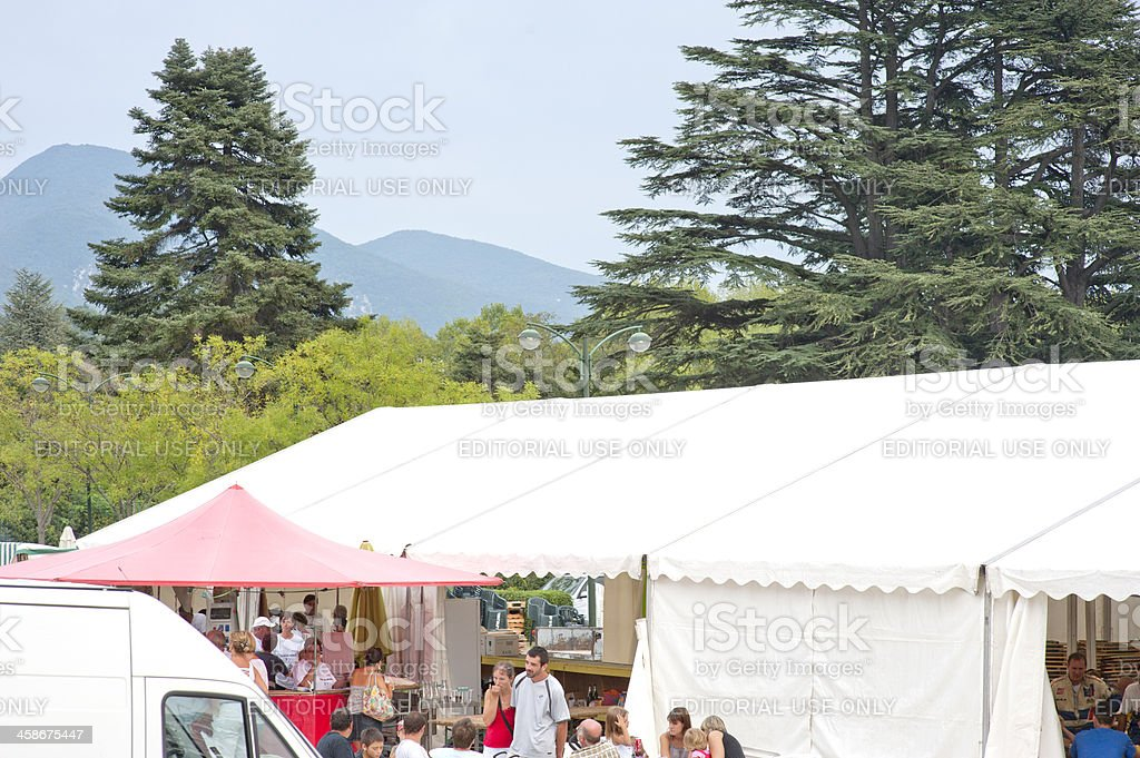 Marquee at outdoor event stock photo