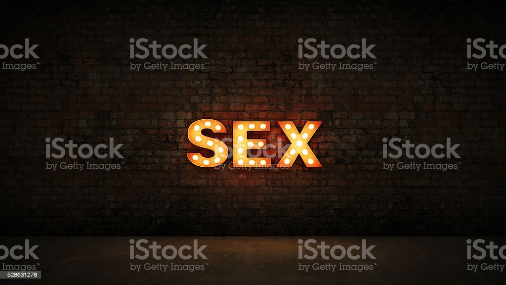 marquee light sex letter sign, render 3D stock photo
