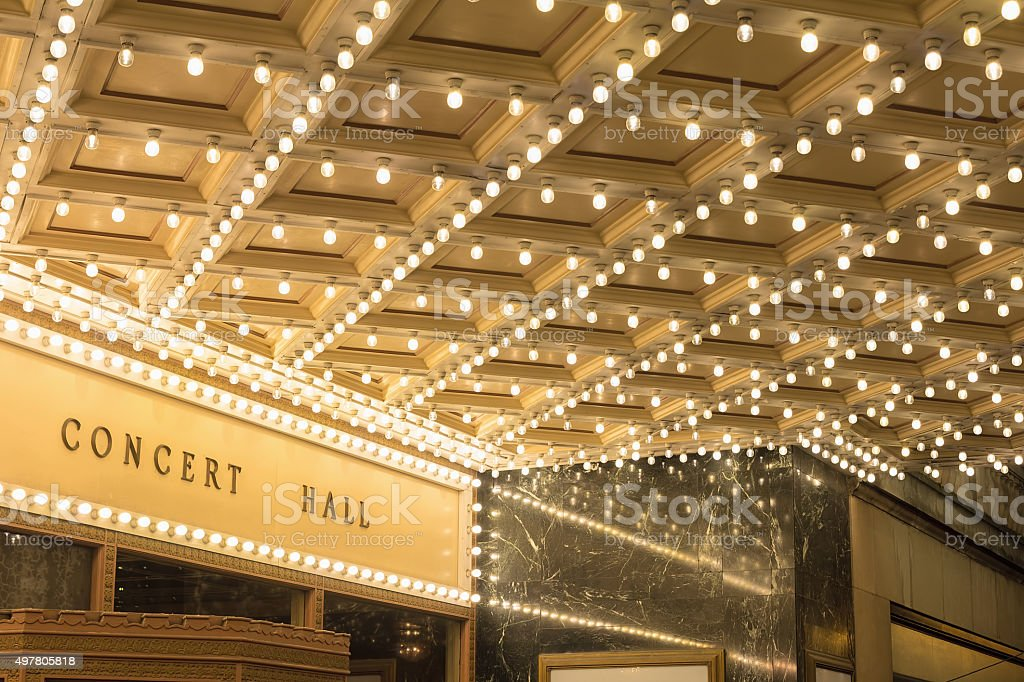 Marquee Lights at Broadway Theater Entrance stock photo