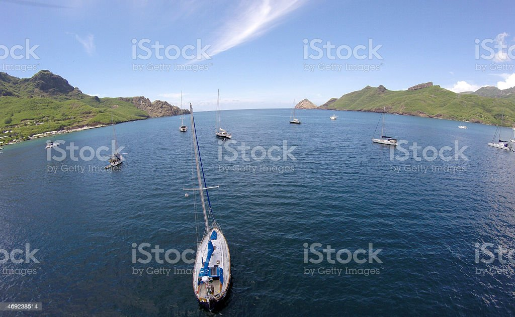 Marquesan Harbor in South Pacific. stock photo