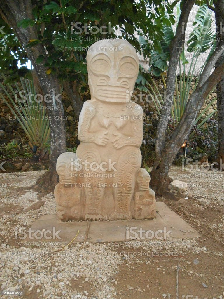 Marquesas Statue and Walls at Polynesian Cultural Center. stock photo