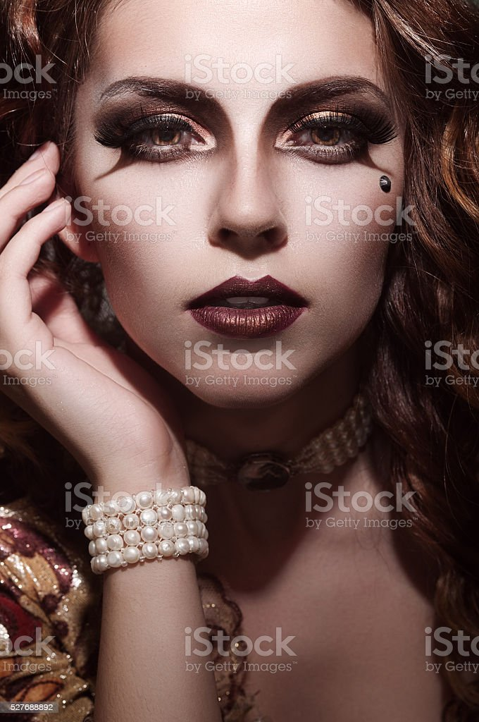 marquise with birthmark on her face stock photo