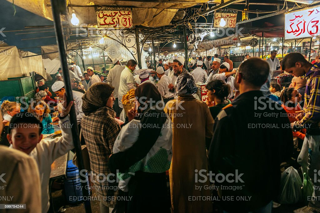Marrakech, Djemma El Fan Square, Night Street Market, Morocco stock photo