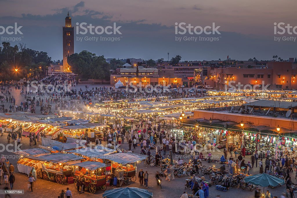 Marrakech Djemma El Fna Square by Night stock photo