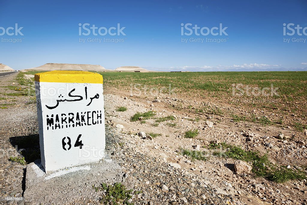 Marrakech Highway Morocco Roadside Sign royalty-free stock photo