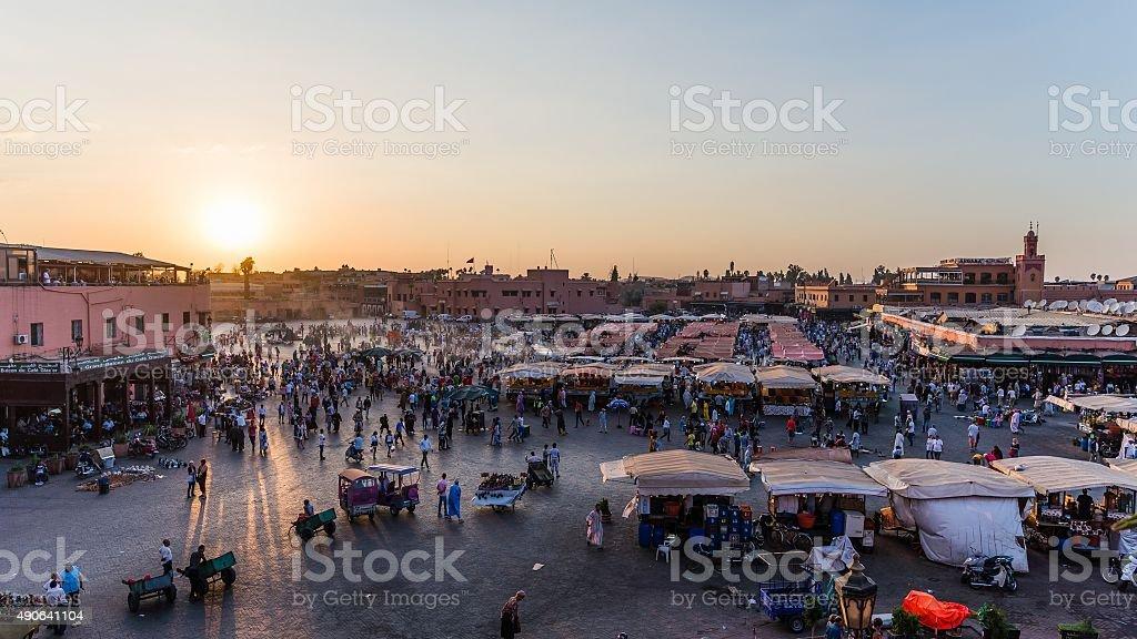 Marrakech, Morocco - Circa September 2015 - sunrise over marrake stock photo