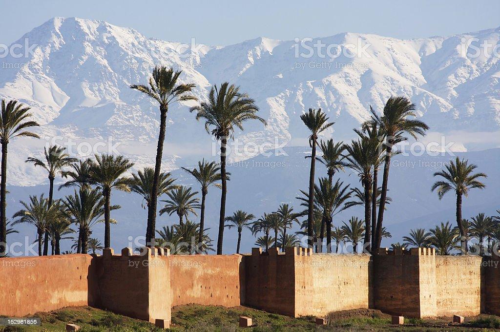 marrakech, neige palmiers ramparts... stock photo