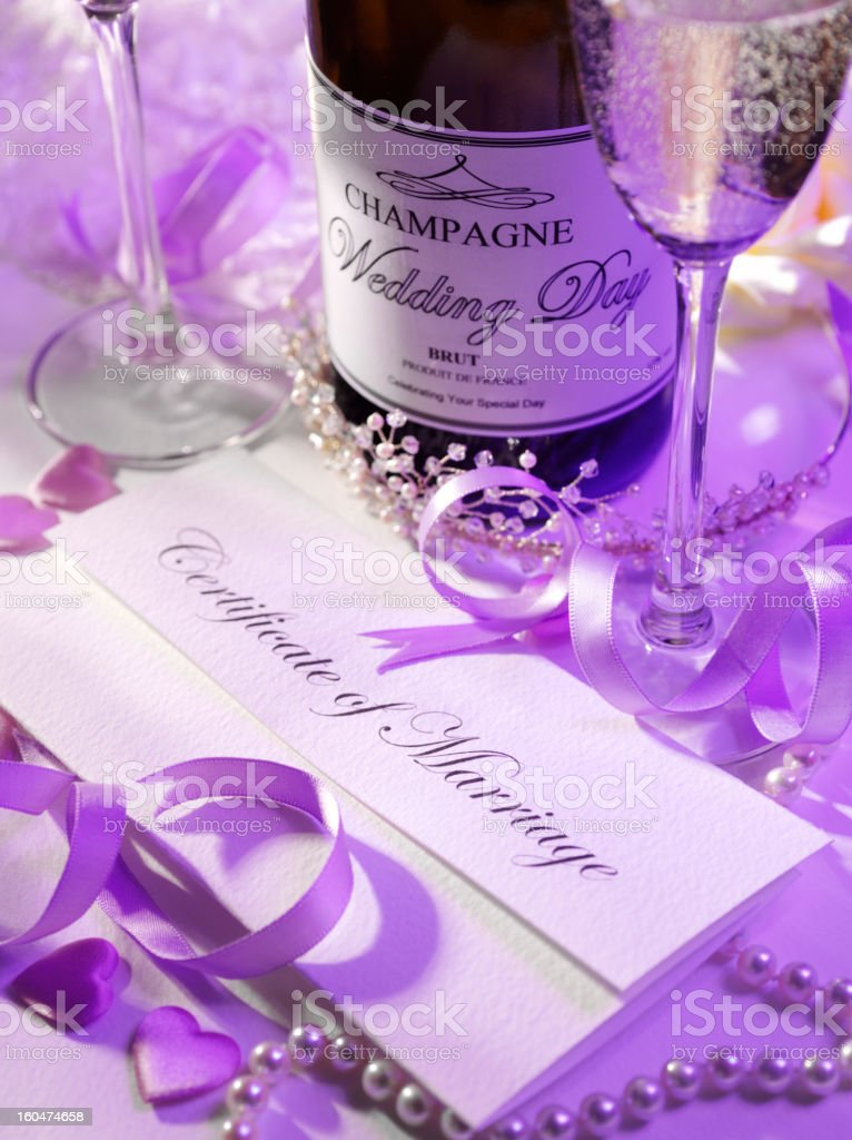 Marriage Certificate and Champagne royalty-free stock photo
