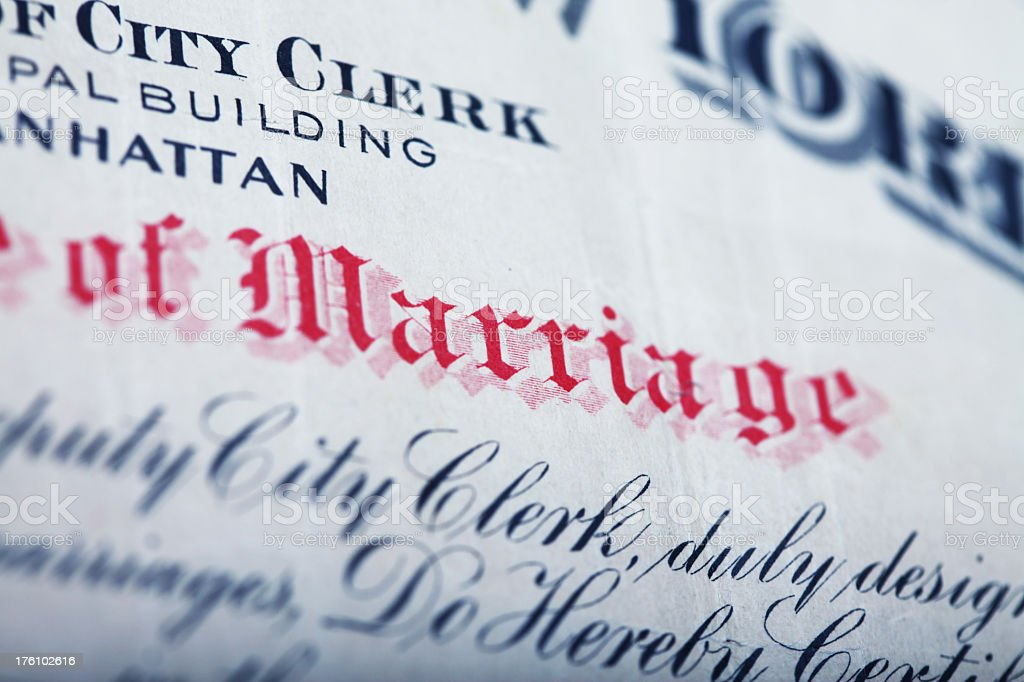 NYC Marriage Certificate royalty-free stock photo