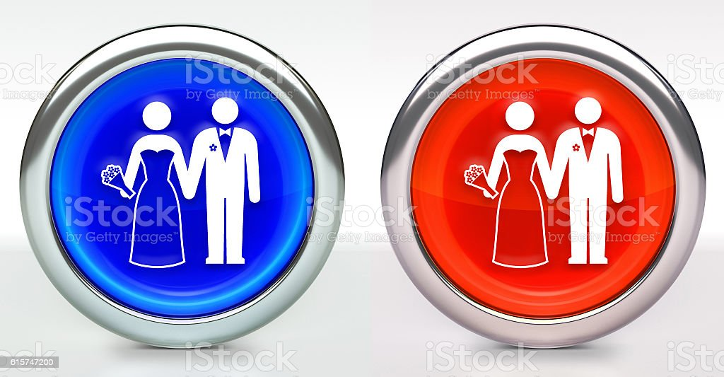 Marriage Icon on Button with Metallic Rim stock photo