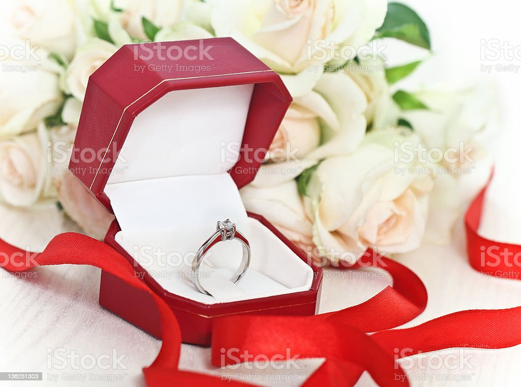 Marriage proposal. An engagement diamond ring royalty-free stock photo