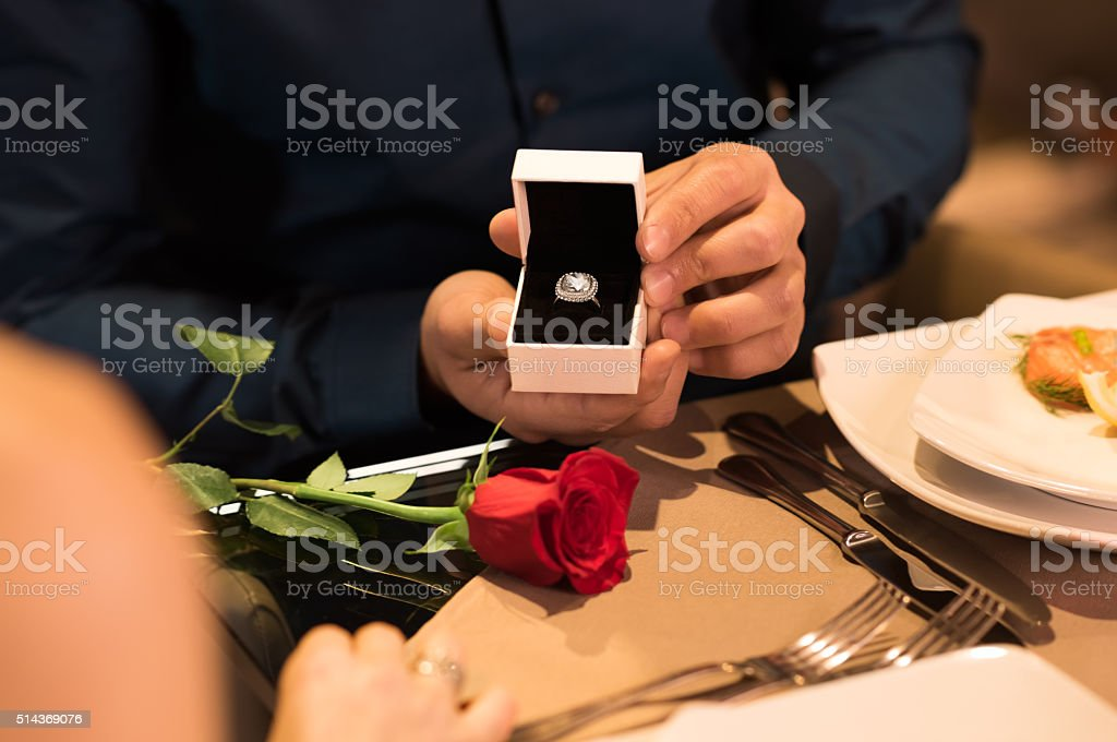 Marriage proposal stock photo