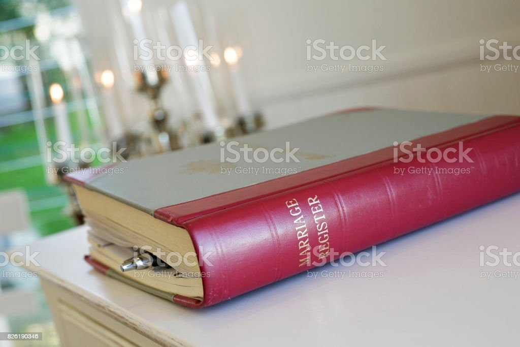 Marriage Register stock photo