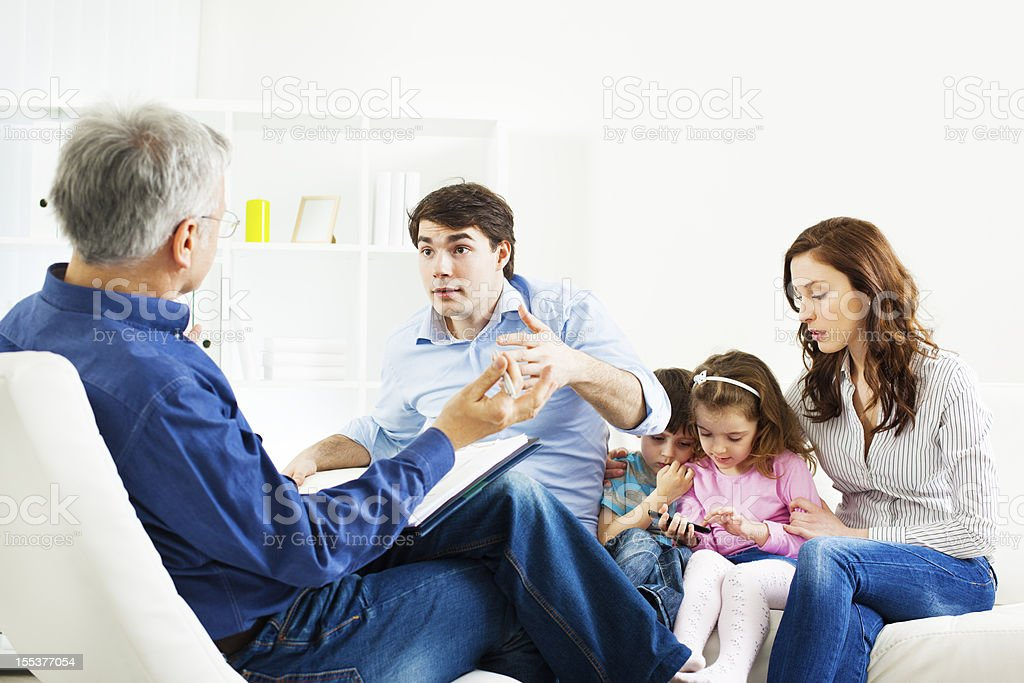 Marriage Therapy. Family Talking to Counselor royalty-free stock photo