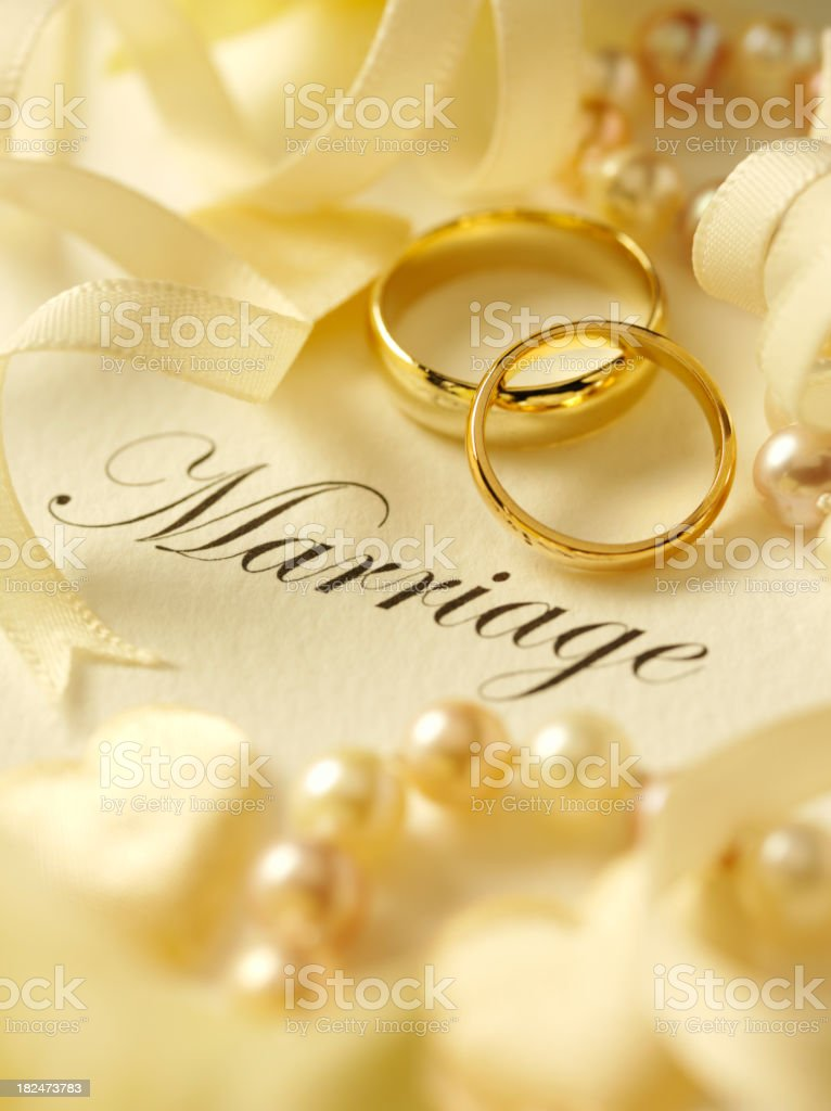 Marriage with Rings and Ribbon royalty-free stock photo