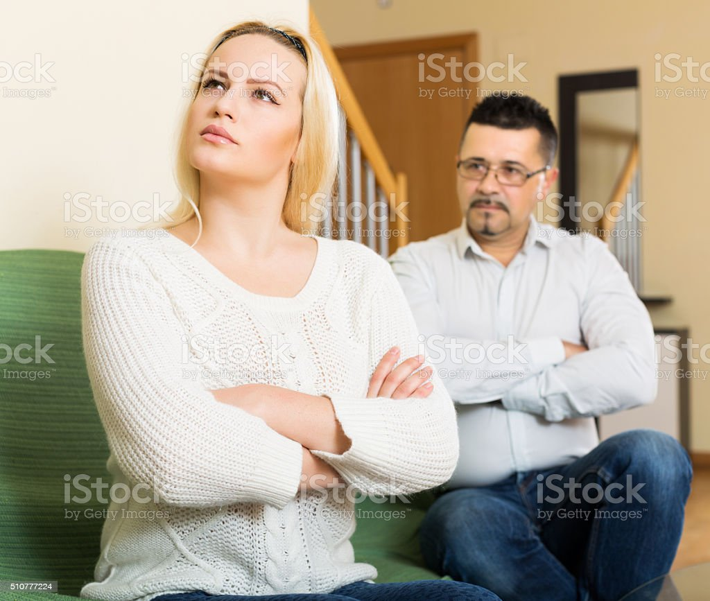 Married couple after quarrel stock photo