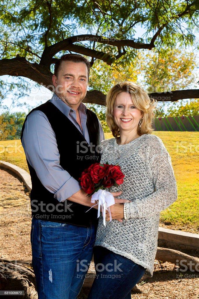 Married Couple Celebrating Anniversary stock photo