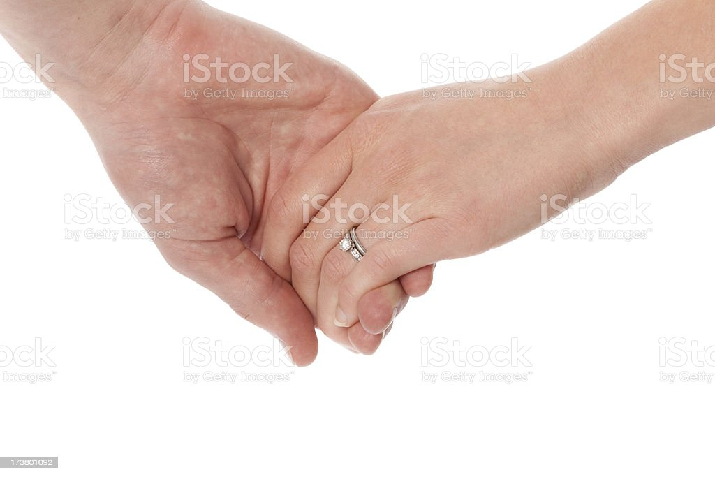 Married Couple Holding Hands Wearing Diamond Wedding Ring royalty-free stock photo