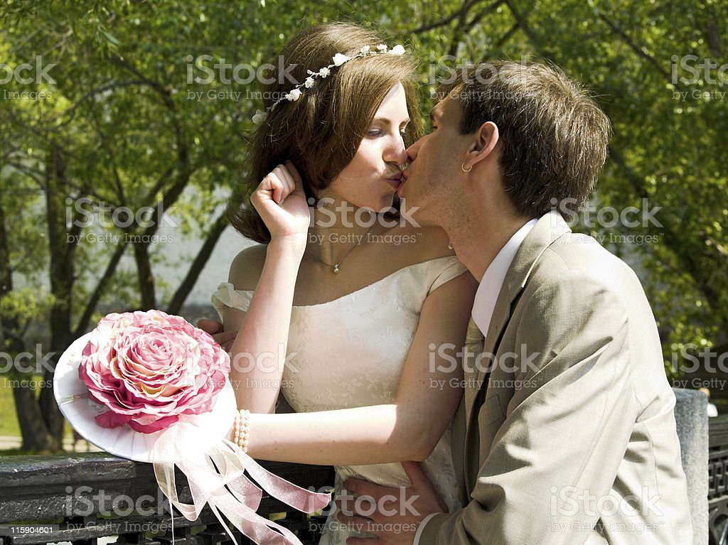 Married couple kiss royalty-free stock photo