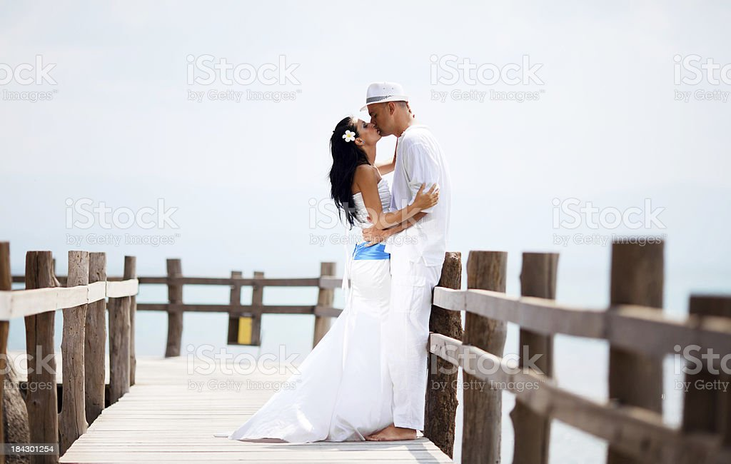 Married couple kissing. royalty-free stock photo