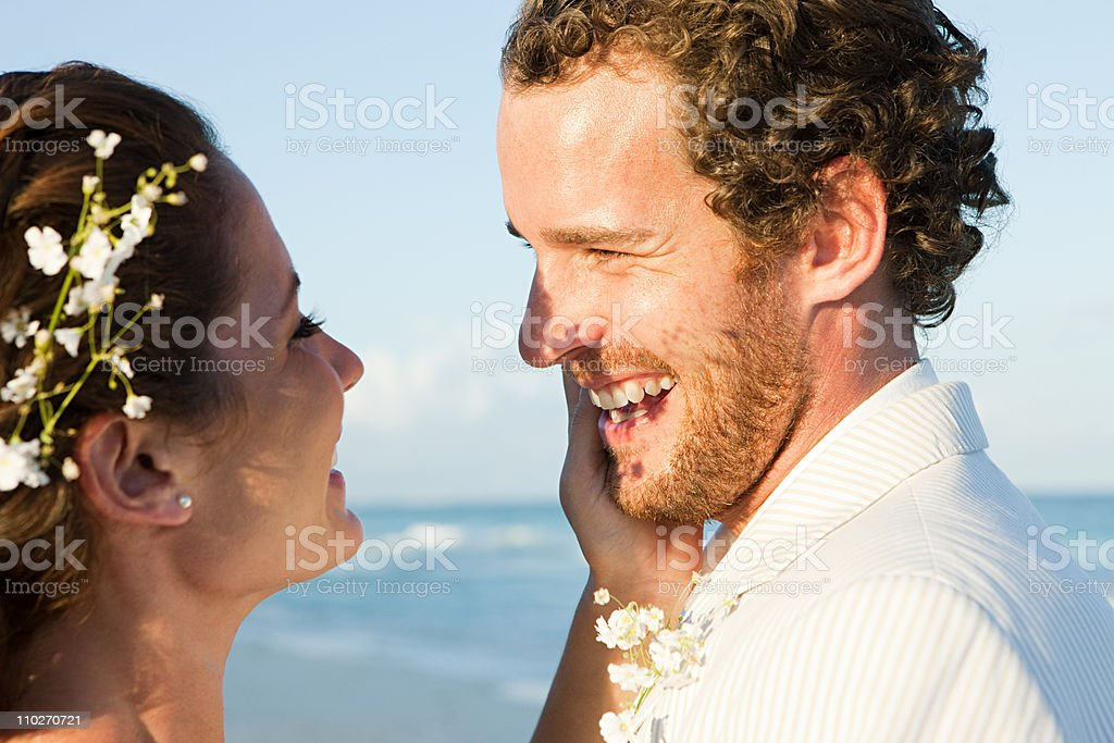 Married couple on beach royalty-free stock photo