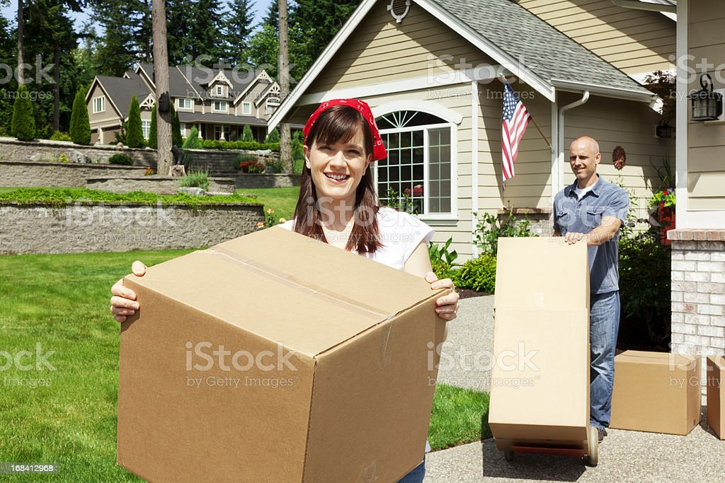 Married Couple on Moving Day royalty-free stock photo