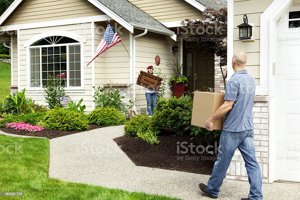Married Couple on Moving Day stock photo