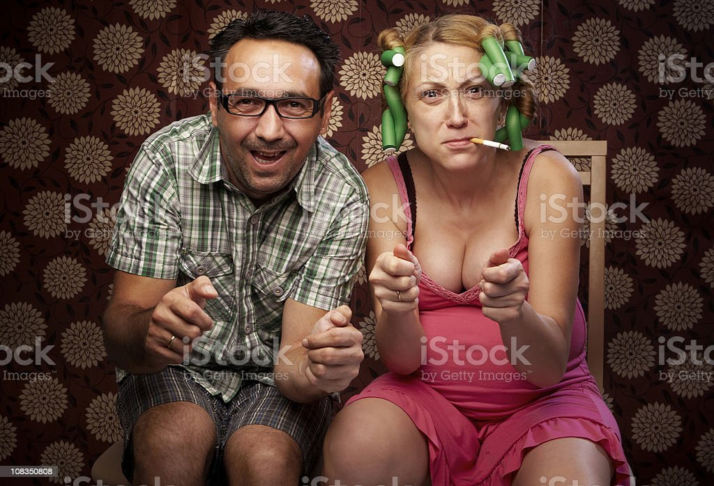 Married couple playing computer games royalty-free stock photo