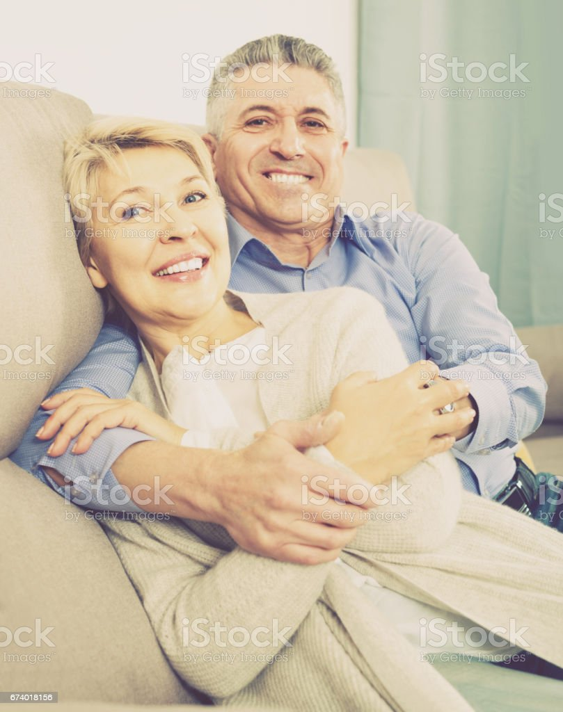 married couple understand and love each other and are happy in house stock photo