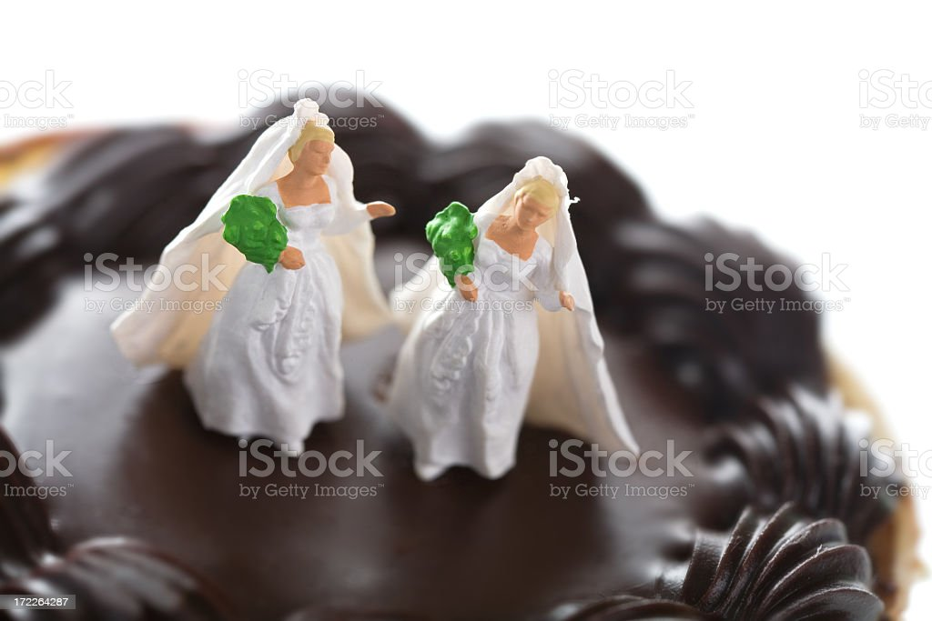 Married figurines standing on a chocolate cake stock photo