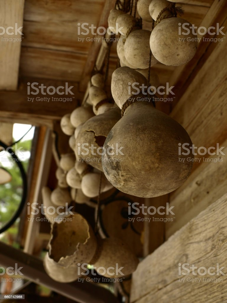 dried gourd under the eaves of a house with a steep rafter roof in Shirakawa-village of world heritage 白川郷合掌造り民家の軒下の瓢箪 stock photo