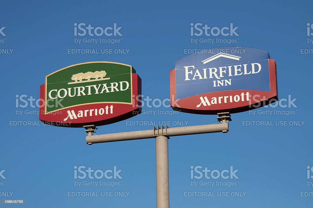 Marriott Billboard Signs stock photo