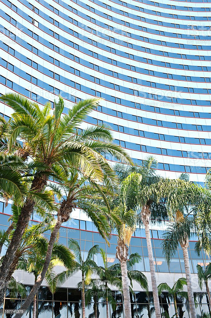 Marriott Hotel in San Diego, Modern Glass Facade with Palms stock photo