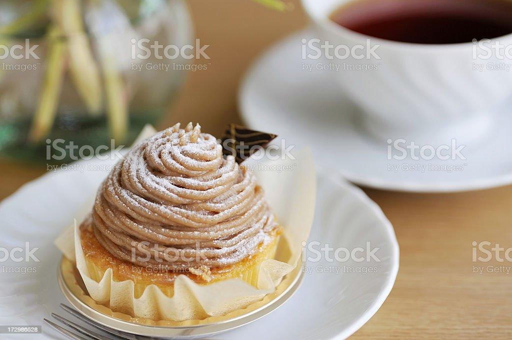 marron cake with tea royalty-free stock photo