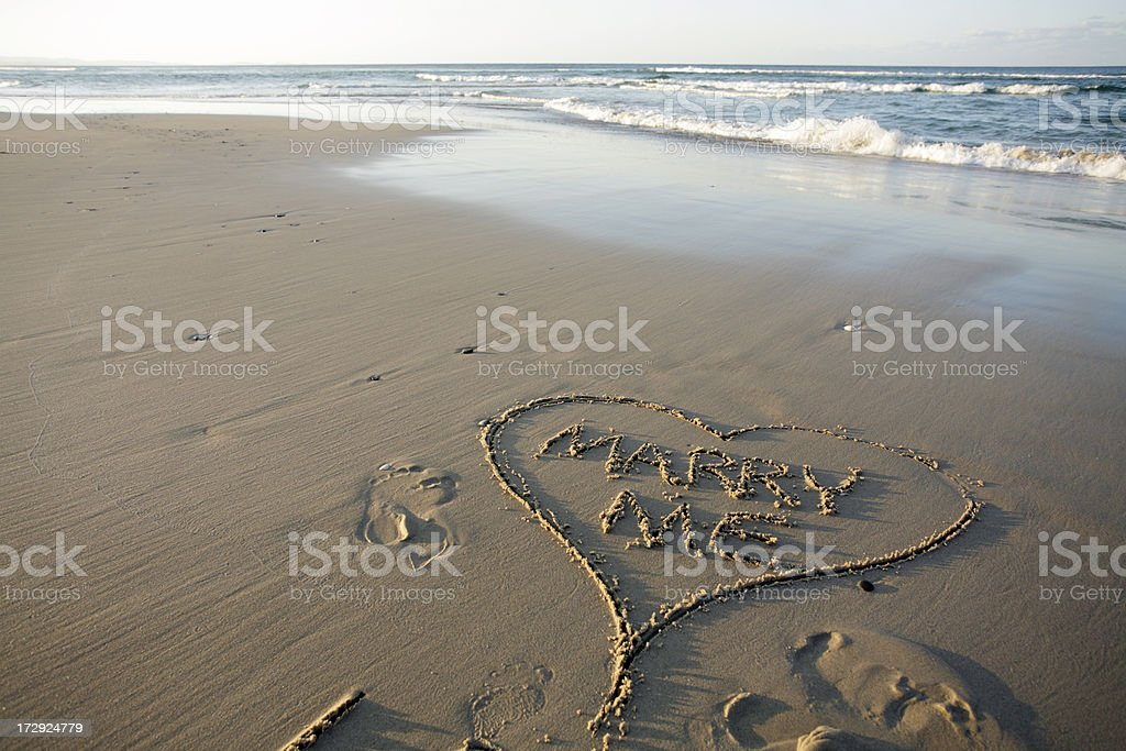 Marry Me Heart Beach Words royalty-free stock photo