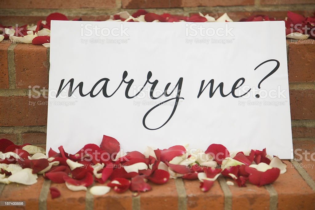 Marry Me Sign, Romance, Flower, Petal, Rose, Surprise, Marriage Proposal royalty-free stock photo
