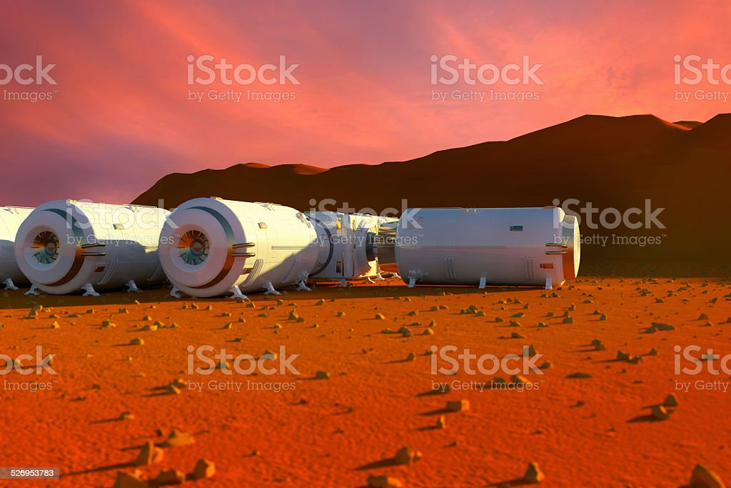 Mars terrain surface and space base station vector art illustration