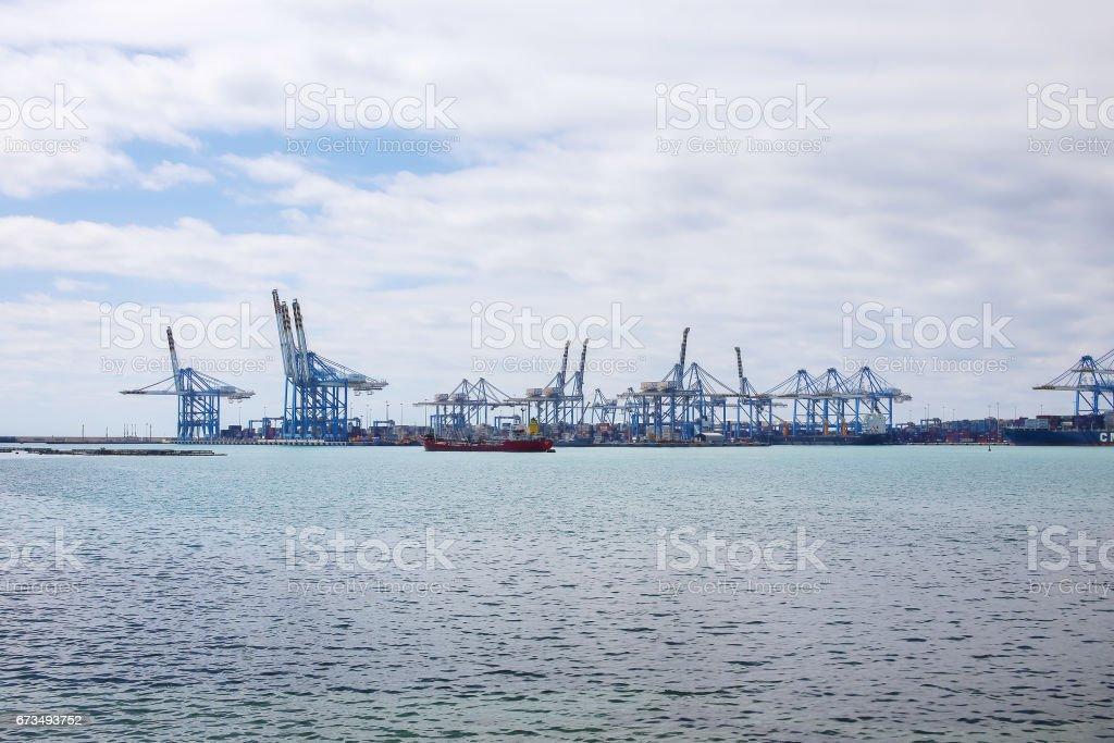 Marsaxlokk gantry cranes, Malta stock photo