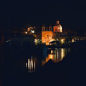 Marsaxlokk Parish church on night time, Malta