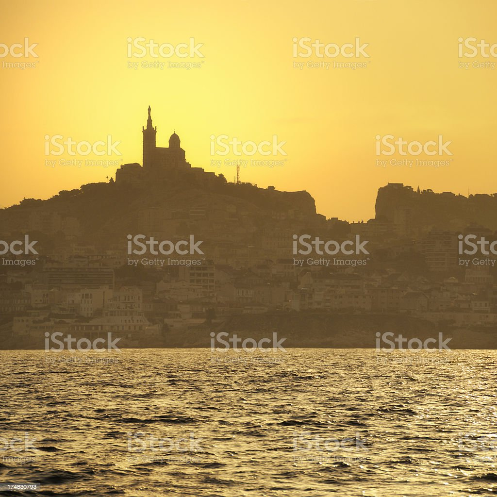 Marseille at sunrise stock photo
