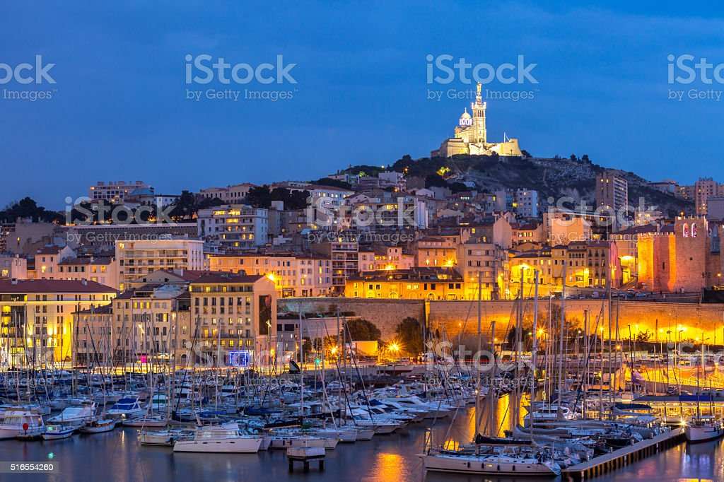Marseille France night stock photo