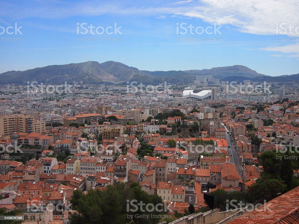 Marseille rooftops from above stock photo