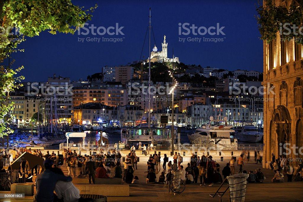 Marseille: The Old Port and Notre Dame de la Garde stock photo