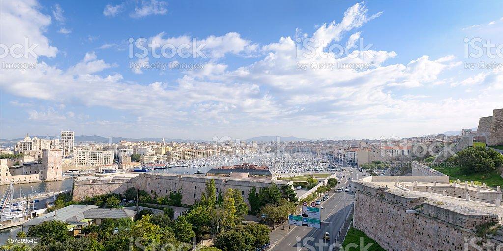 Marseille Vieux Port Panorama stock photo