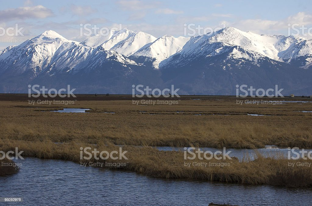 Marsh and Mountains stock photo