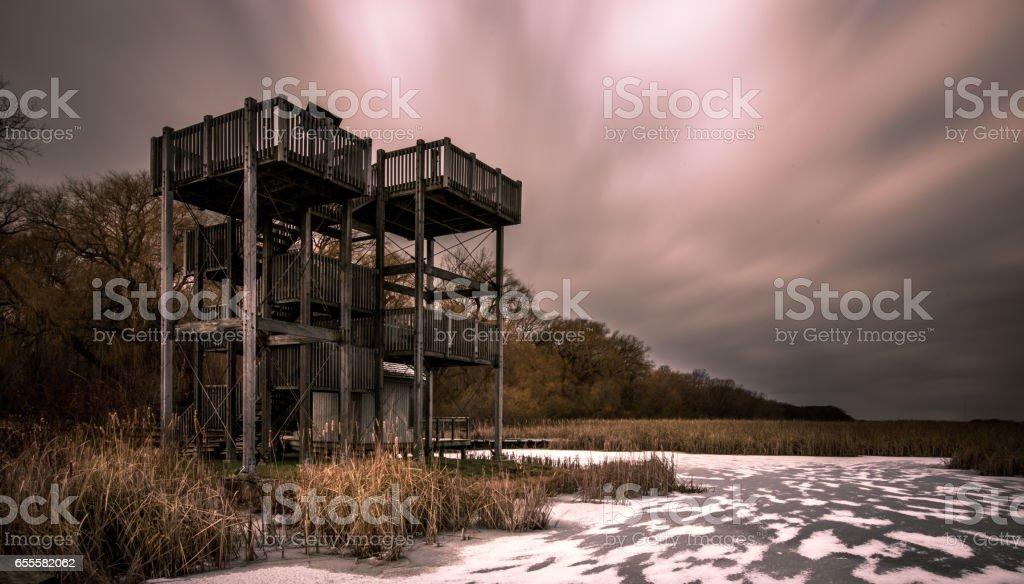 Marsh Boardwalk Lookout Tower stock photo
