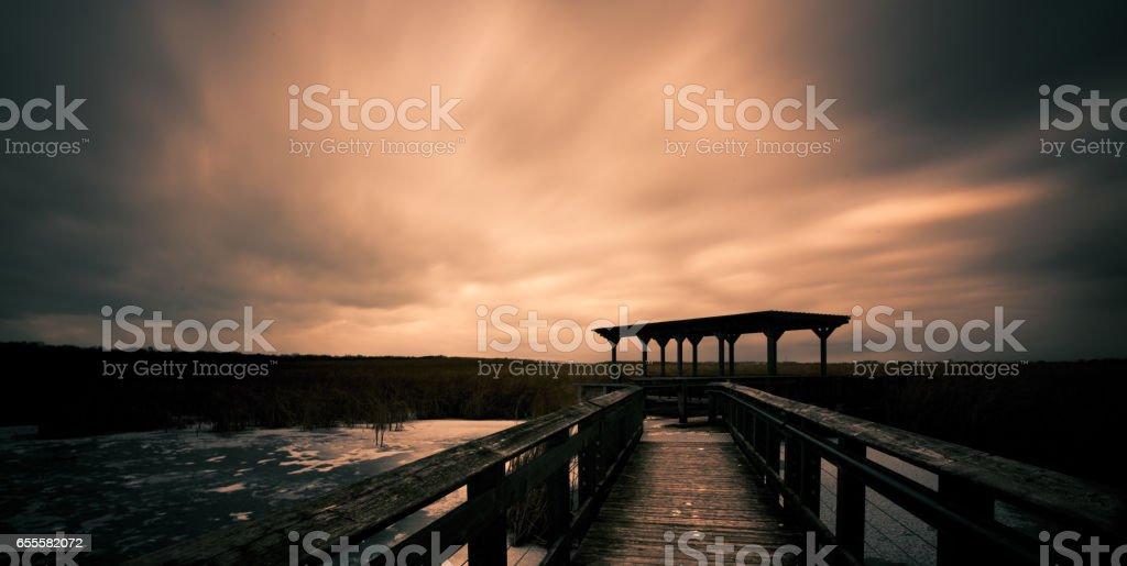 Marsh Boardwalk Sunset stock photo