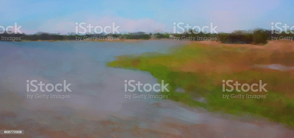 Marsh Landscape in South Carolina Pastel Illustraton stock photo